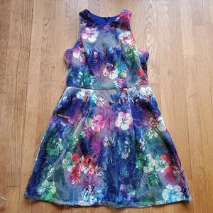 Aiden Maddox rainbow floral lace overlay dress 12